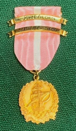 General Society Mayflower Descendants Medal w Ribbon & 2 Ancestor Bars 14K
