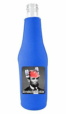 Beer Bottle Cozy (Coolie Junction Abraham Drinkin' Funny Beer Bottle Coolie, Neoprene)
