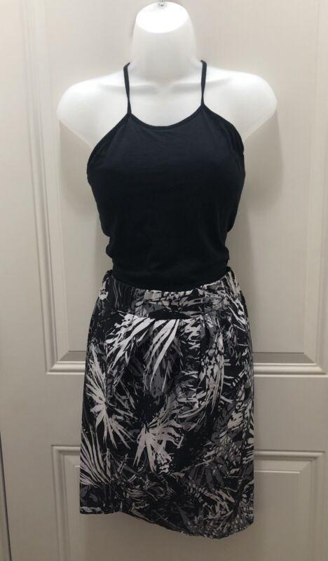 Set Fabletics Black White Palm Leaf Tropical Print Skirt Size XS & Halter Top XS