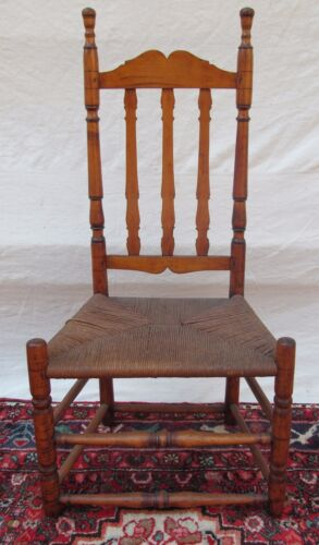 18TH C ANTIQUE WILLIAM & MARY PERIOD NEW ENGLAND MAPLE BANNISTER BACK CHAIR