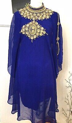 BLUE  Gold Beaded MOROCCON SHORT KAFTANS ABAYA DRESS Sz. 40