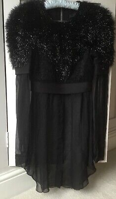 Alexander Wang black fluffy sparkle silk detail top size 2 UK 6