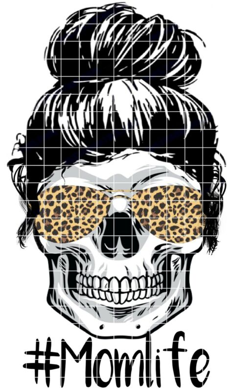 Sublimation Transfer Design Skull Mom Life Leopard