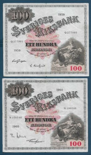 Sweden 100 Kronor 4 Year type Lot, 1959 1960 1961 1962, P 48a 48b 48c 48d , VF