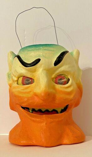 Halloween Paper Clay/Pulp Devil Lantern Pail 1930