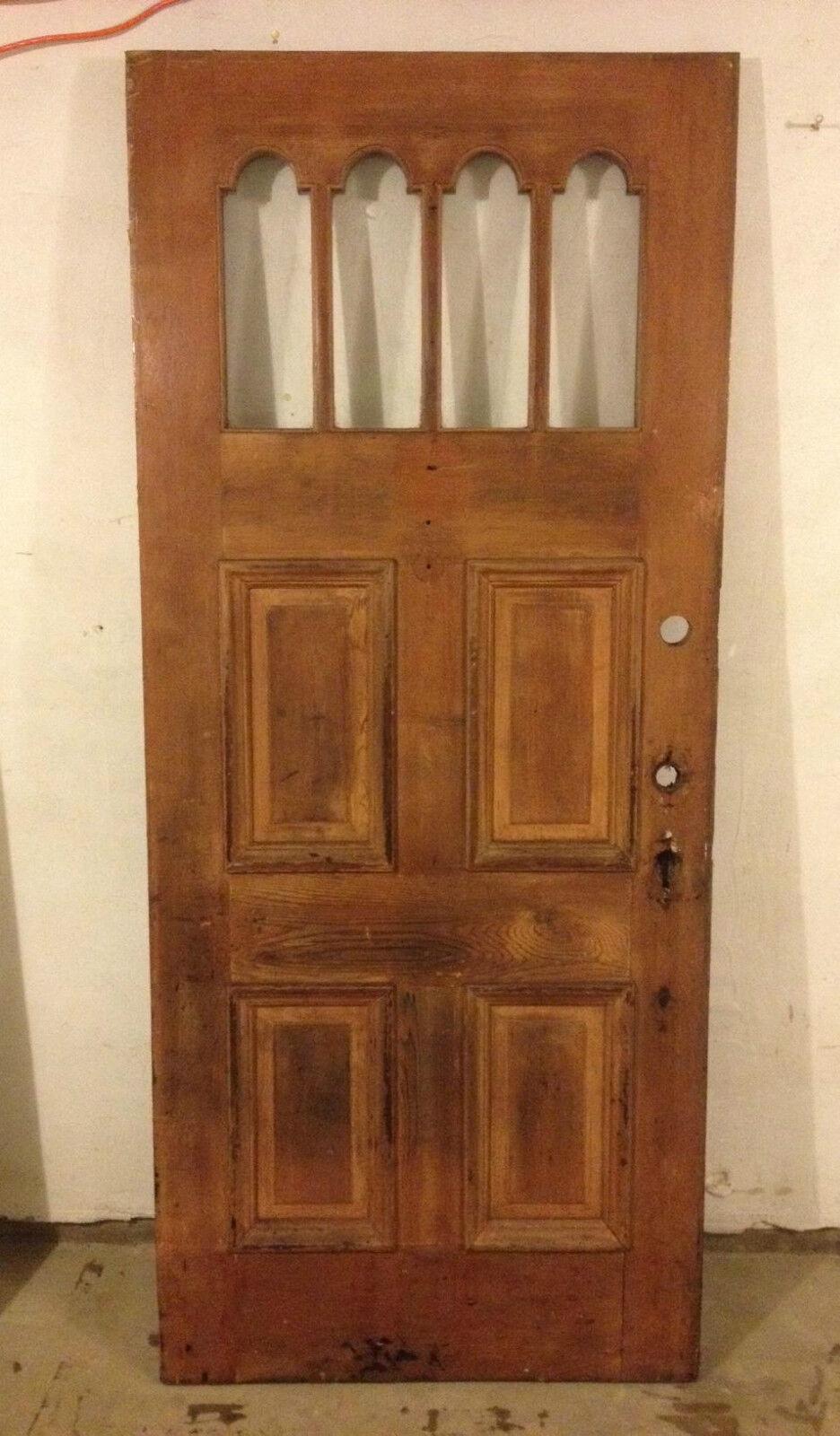 UNIQUE ANTIQUE VICTORIAN WOOD DOOR EXTERIOR /w GLASS 34X79 ARCHITECTURAL SALVAGE