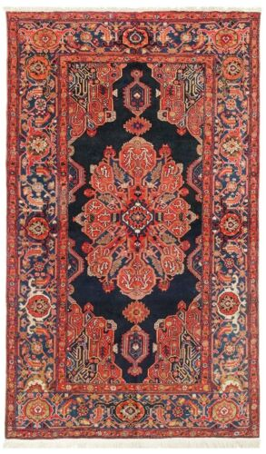 Hand Knotted Antique Tribal Mishan Malayer Wool Navy Oriental Rug 4