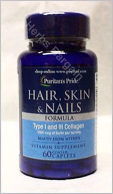 Puritans Pride Hair Skin   Nails 3Mg Biotin Type I   Iii Collagen New Sealed