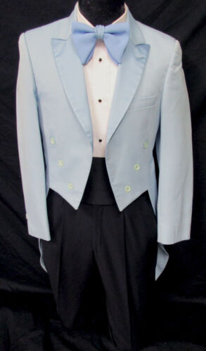 Boys Size 6 Vintage Light Blue Tuxedo Tailcoat Satin Lapels 1970
