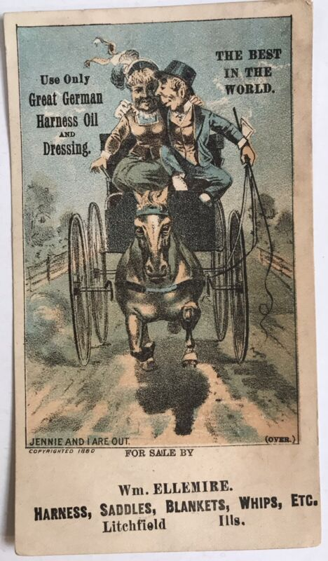 Litchfield Illinois Carriage Horse German Harness Oil Trade Card 1880 Ellemire