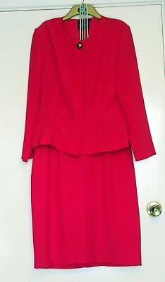 Opera by Richards Vintage Ladies Fuchsia Pink Pencil Skirt Suit UK 12/14