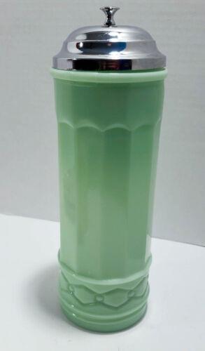JADEITE GREEN GLASS STRAW HOLDER SODA FOUNTAIN RESTAURANT DINER STYLE