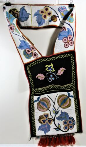 EARLY 20TH C AUTHENTIC OJIBAY BANDOLIER BAG BEADED NATURAL THEMES FINE CONDITION