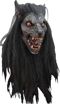 Killer Carnivorous Wolf DELUXE ADULT LATEX BLACK MOON WEREWOLF MASK