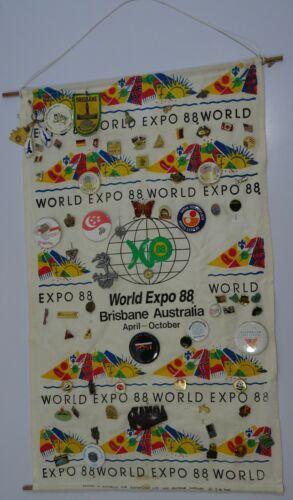 World Expo 88 Brisbane Australia Hessian display with 71 Pins & Badges!