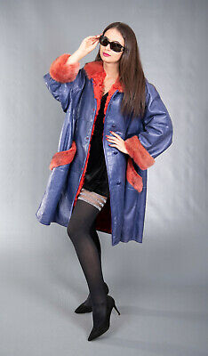 3883 AMAZING REAL LEATHER MINK COAT FUR JACKET SWINGER BEAUTIFUL LOOK SIZE 3XL Leather Mink Coat