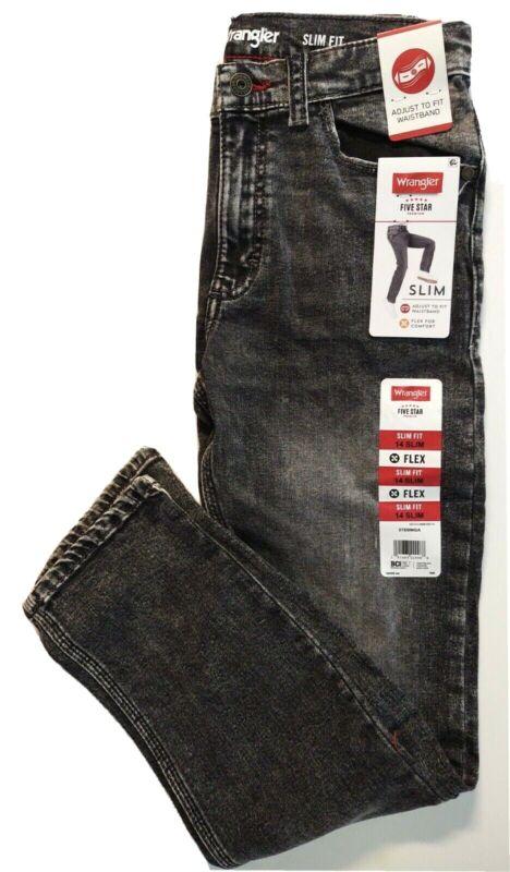Wrangler Boys Slim Fit Jeans Adjustable Waistband Black 14 Slim