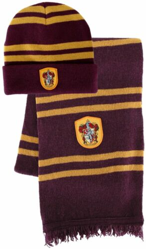 Harry Potter Gryffindor House HAT & REAL WOOL SCARF w/ CREST beanie LICENSED USA