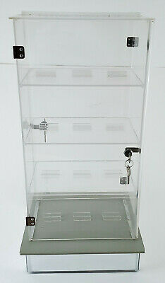 Vintage Countertop Acrylic Revolving Display Case Lock Key On Both Sides 3 Shelf