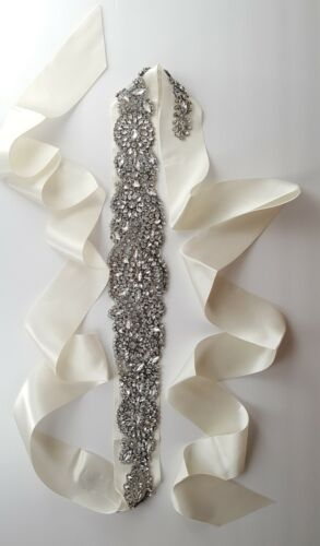 Bridal wedding crystal rhinestone sash belt ivory color satin ribbon plus size.