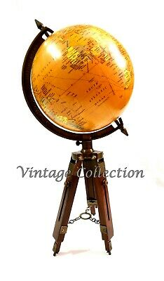Vintage Nautical Antique World Map Globe Ornament with Wooden Tripod Stand Decor