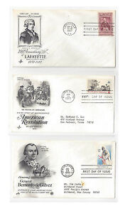 FDC-Lot-of-3-Sc-1097-1477-1826-Lafayette-American-Revolution-Art-Craft-Cachet