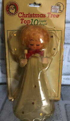 Vintage Angel Christmas Tree Topper With Lights NEW OLD STOCK