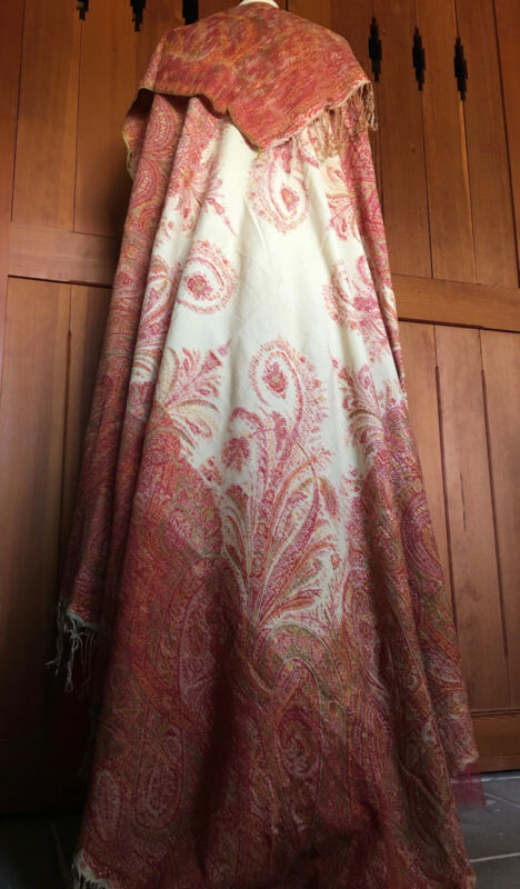 ANTQ 1830s FRENCH WOOL PAISLEY SHAWL~FINELY WOVEN
