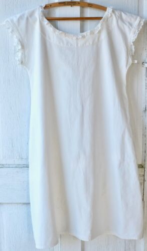 Antique White Cotton Chemise Nightgown Undergarment Slip Dress
