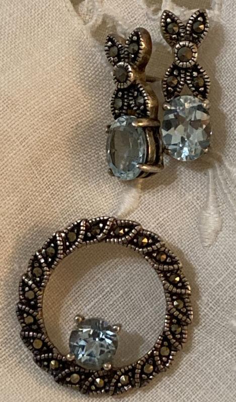 Blue Topaz & Marcasite Pendant & Post Earrings,  Sterling .925, Stunning !