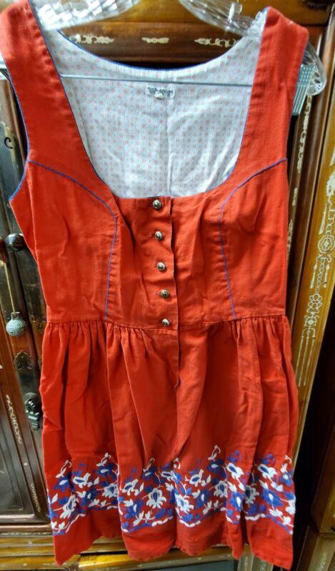 Authentic German Austrian Dress Beer Oktoberfest Embroidered Apron Dirndl  Sz 42