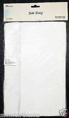"NIP Solid WHITE Habotai SILK SCARF 12""x 60"" Paint Tie Dye Stencil - USA Seller"