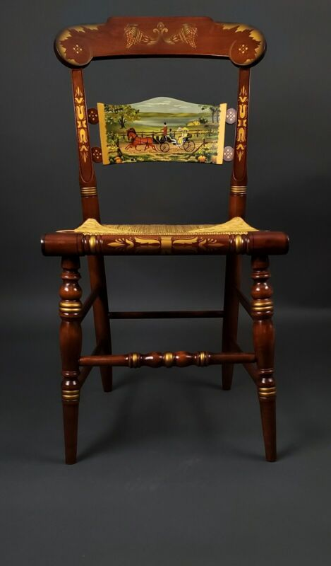 { MUSEUM QUALITY } Thanksgiving Limited Edition Lakeside Ride Hitchcock Chair