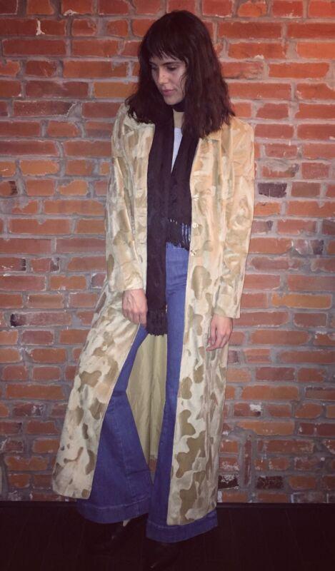 Vintage Faux Fur Maxi Full Length Coat Jacket Womens Tan Button Front (1117)