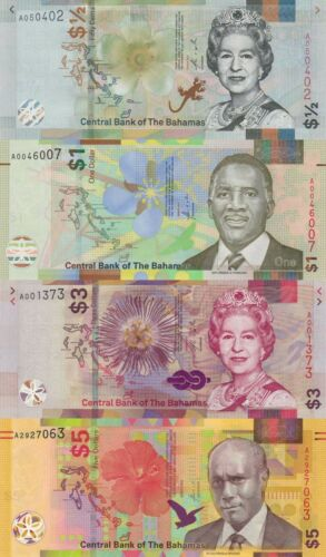 Bahamas 4 Note Set: One Half to 5 Dollars (2017/2020) - p77,pNew, pNew, pNew UNC