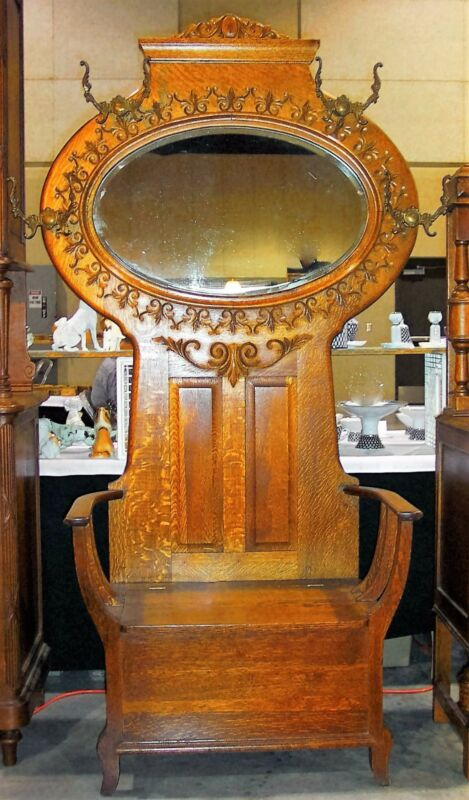 American Quartersawn Tiger CARVED OAK HALL TREE Seat Bench Standl Mirror 1900