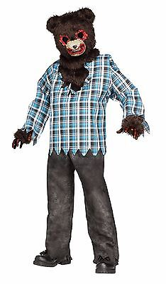 Childrens Bear Costume (Boys Psycho Teddy Bear Costume Killer Crazy Faux Fur Plaid Halloween Kids)