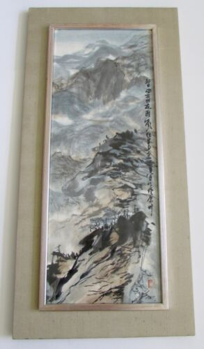 Japanese Original Signed Asian Scroll Watercolor Landscape Painting on Silk