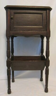 Vintage Antique Wooden Pipe Tobacco Smoking Stand Glass Lined Cigar Humidor