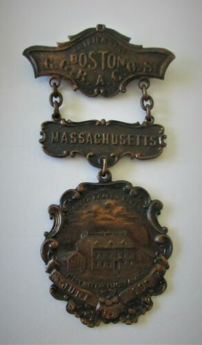 ANTIQUE,Boston,MA,Ye Green Dragon Tavern,1906,WONDERFUL LOOKING MEDAL,PIN,WOW!