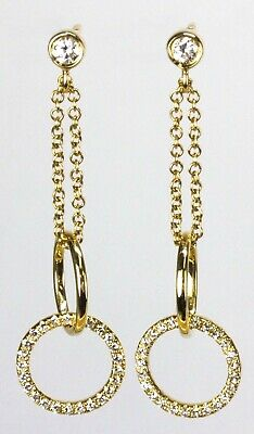 Dangling Circle & Chain Earring with Diamond in 14k Yellow, Rose or White Gold
