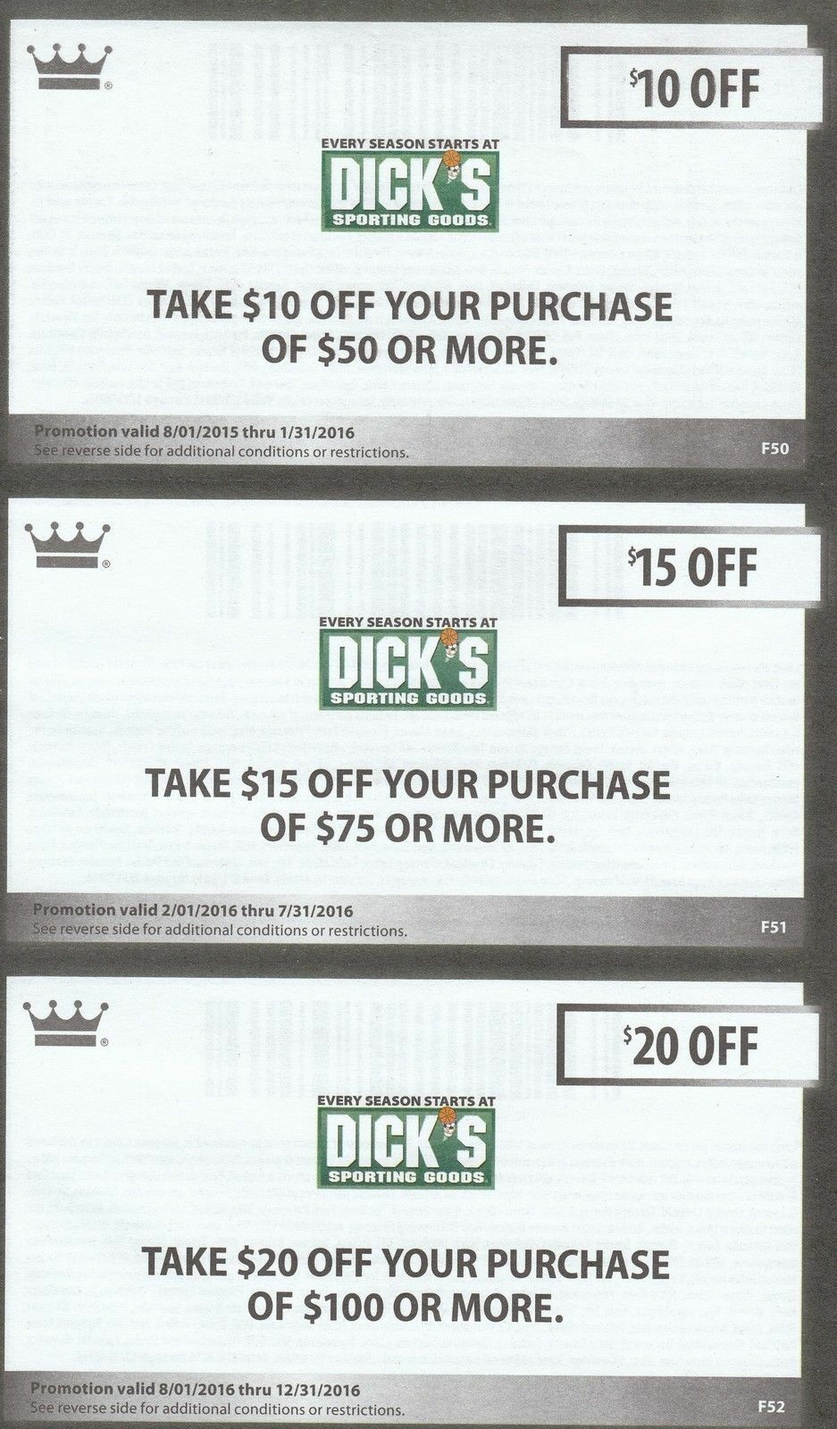 Dick S Sporting Goods Coupons For Sale Ebay