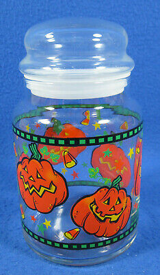Halloween Glass Candy Jar with Lid Vintage Decorated w/Pumpkins JOL & Candy Corn