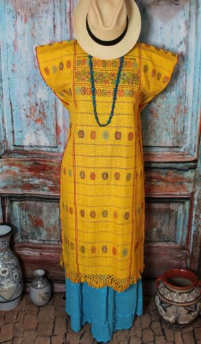 Mexican Huipil Dress Kaftan Yellow & Multi-Color Amuzgo Handwoven Cowgirl Hippie