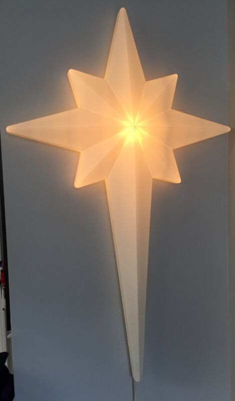 "Vintage 39"" Nativity Star Christmas Blow Mold Union Products Bethlehem Cross"