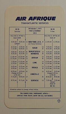 Air Afrique Airlines 1975   Timetable     Transatlantic Services
