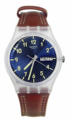 Swatch GE709 Windy Dune Brushed Blue Day Date Dial Brown Leather Band Watch New