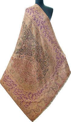Large Diamond Kani Wool Jamawar Paisely Pashmina Shawl Purple Black Burgundy for sale  Shipping to India