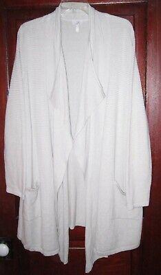 LOGO Lori Goldstein Plus 1X 2X Cardigan Sweater Coat Duster Open Pockets Shawl