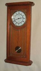 Bulova Oak Wall Clock with Westminster Chimes Model C-3375, Great Condition!